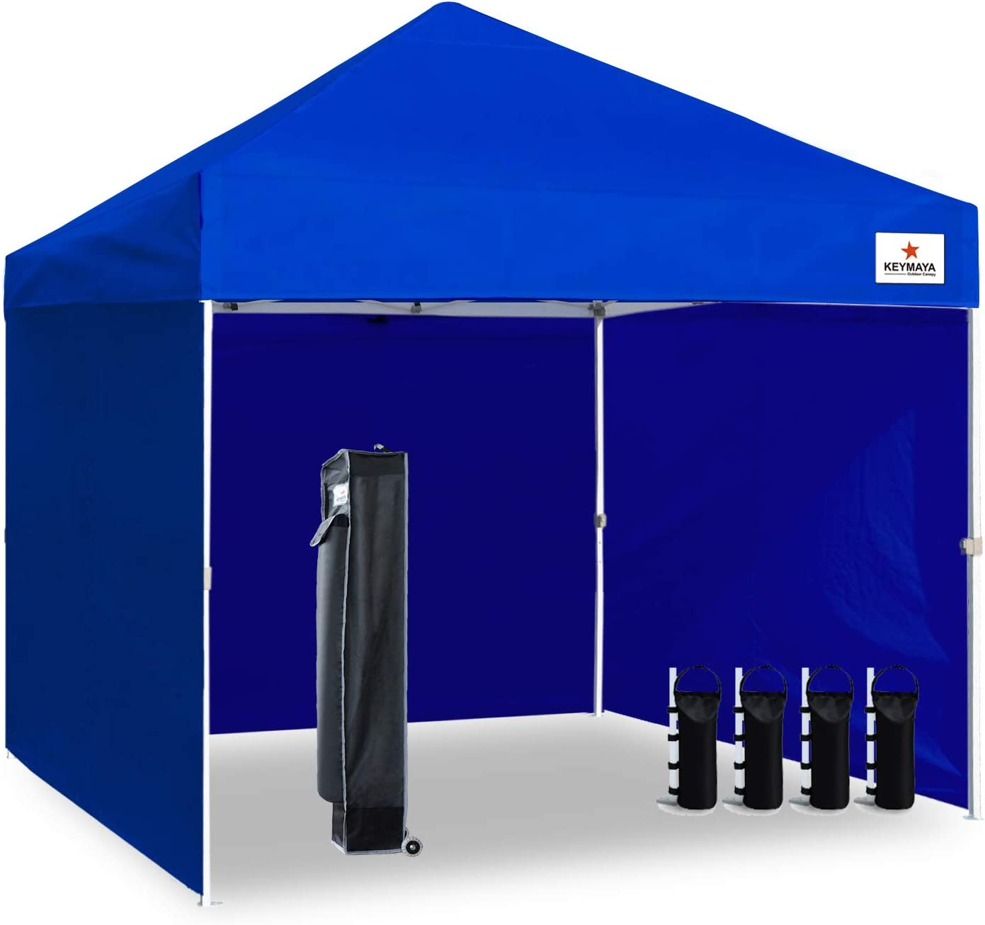 Keymaya 10 x10 Ez Pop Up Canopy Tent Commercial Instant Shelter with 4 Removable sidewalls Bonus Weight Bag 4-pc Pack, 10×10, Blue