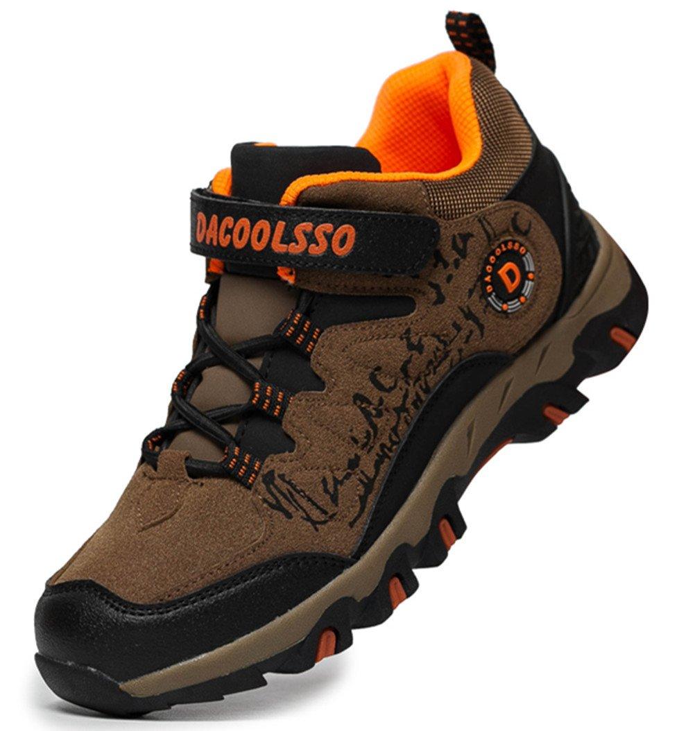 DADAWEN Boy's Girl's Running Shoes Waterproof Outdoor Hiking Athletic Sneakers (Toddler/Little Kid/Big Kid) Orange US Size 7 M Big Kid
