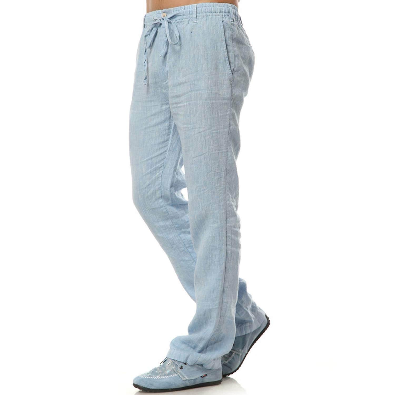 Nutsima Summer Breathable Linen Trousers White Casual Loose Straight Linen Trousers Thin Fluid Pants Male Plus Size