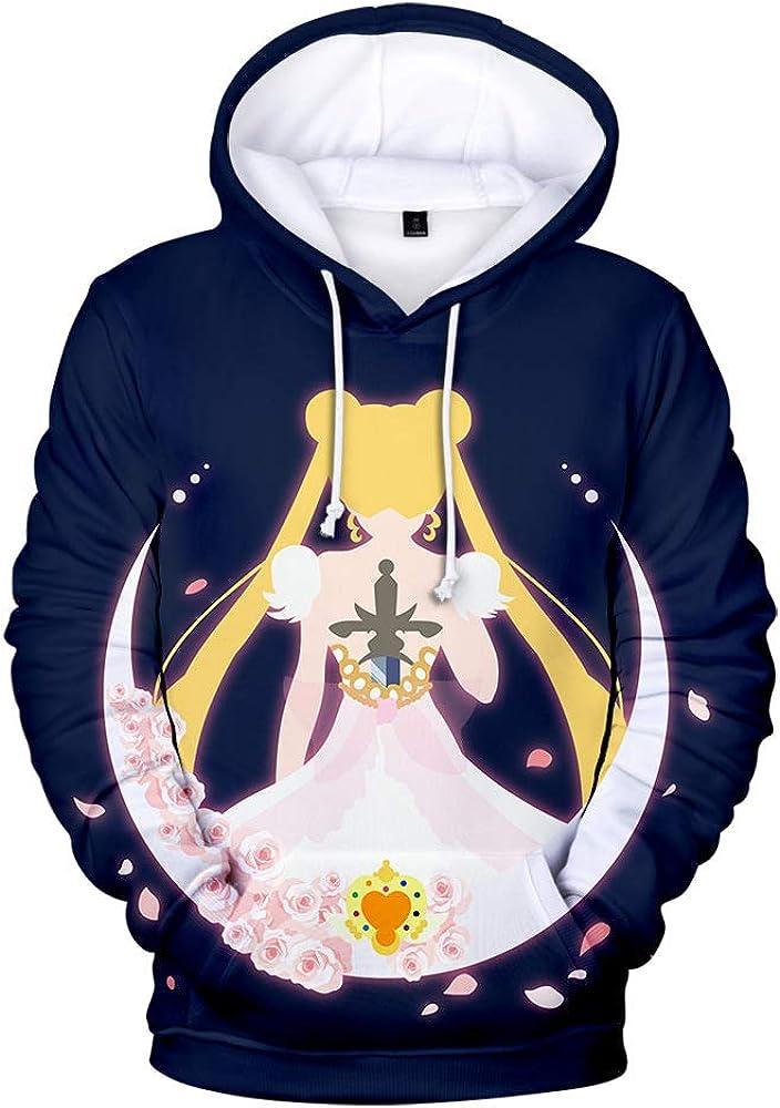 keepmore Felpe con Cappuccio a Maniche Lunghe per Uomo e Donna con Anime Giapponesi Stampate in 3D Anime Sailor Moon