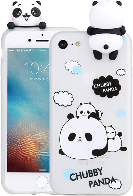 LAPOPNUT 3D Cartoon Panda Case for iPhone 7 iPhone 8 iPhone SE 2020 Case Soft Back Cover Candy Colour Cute Bear Design Slim Flexible Protective Case ...