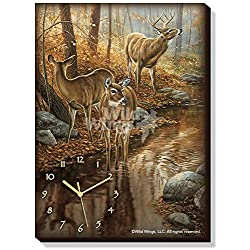Wild Wings Backwater Passage - Whitetail Deer Canvas Clock by Rosemary Millette,Multi-Color