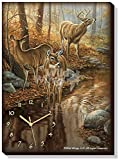 Wild Wings Backwater Passage – Whitetail Deer Canvas Clock by Rosemary Millette,Multi-Color