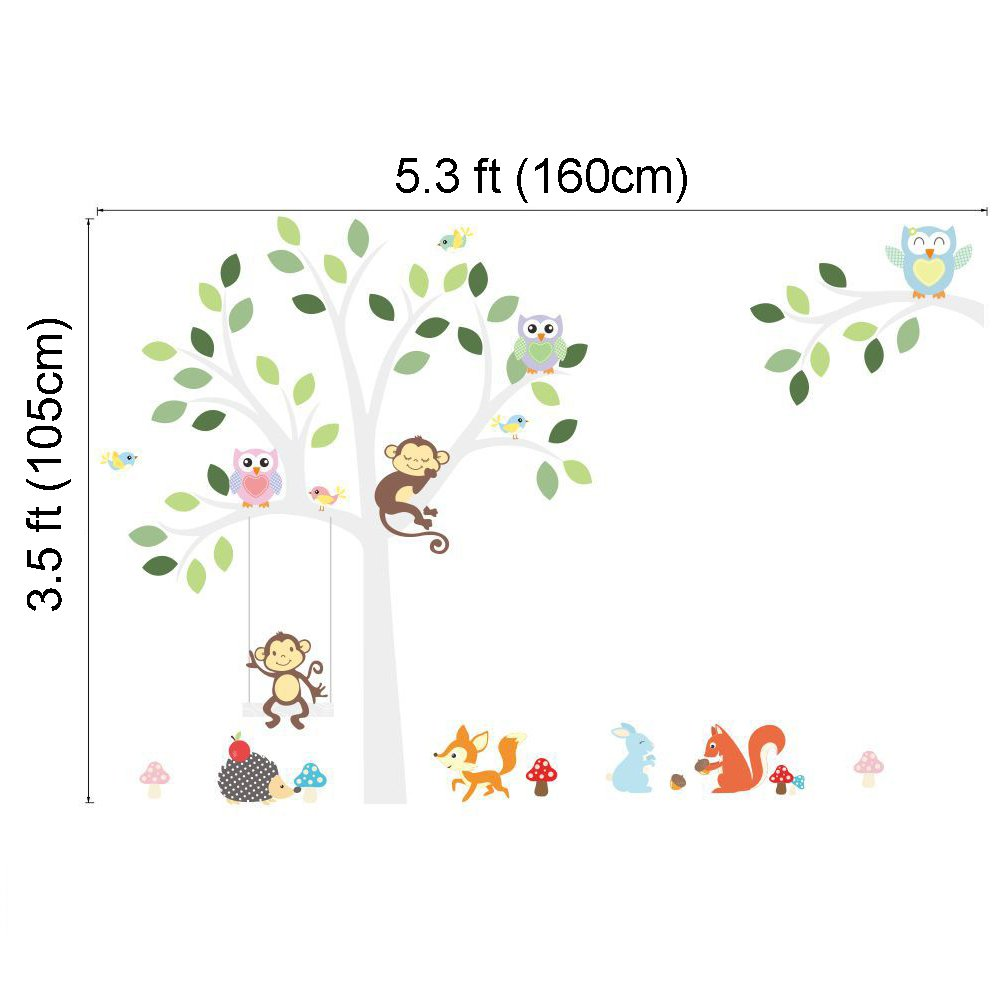 amazon com elecmotive cartoon forest animal monkey owls fox amazon com elecmotive cartoon forest animal monkey owls fox rabbits hedgehog tree swing nursery wall stickers wall murals diy posters vinyl removable art