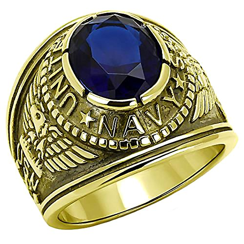 Navy G: Mens 5.0ct Simulated Sapphire Navy Military Ring Steel n IP Gold-tone finish, 3253B sz ()