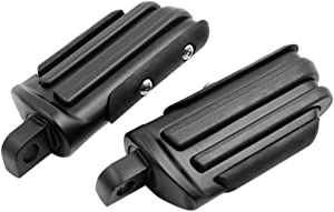 F FIERCE CYCLE 2pcs Aluminum Alloy Rubber Motorcycle Engine Guard Foot Rest Pegs Black for Harley Touring Street Glide