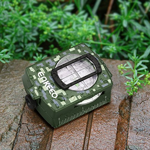 ENKEEO Multifunctional Military Compass Waterproof Metal Case with Pouch for Navigation Camping Hiking Adventure Travel Green/Camouflage