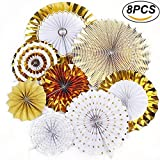 Hanging Paper Fan Party Decoration Gold Fiesta Tissue Flower Banner Paper Fan Bulk Set Garland Supply for Birthday Party, Wedding, Baby Shower, Bridal Shower(Set of 8)