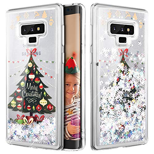 Caka Galaxy Note 9 Case, Galaxy Note 9 Glitter Case [Liquid Series] Sparkle Fashion Bling Luxury Flowing Liquid Floating Glitter Soft TPU Clear Christmas Case for Samsung Galaxy Note 9 - (Tree)