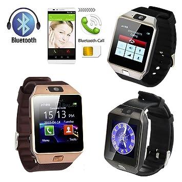 Bluetooth Hombres Mujeres Reloj Inteligente Teléfono + cámara tarjeta SIM para Android IOS teléfonos DZ09 en