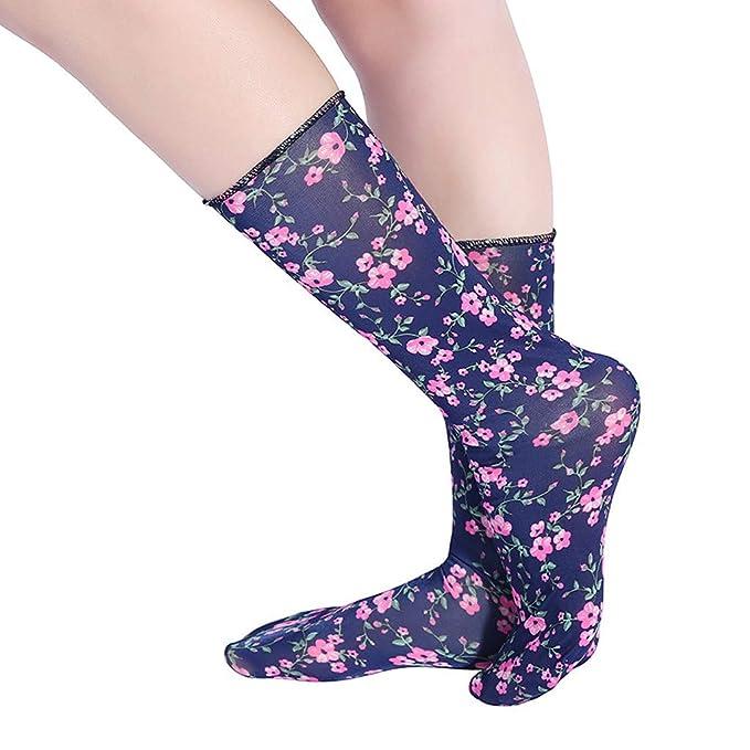 DressLksnf Calcetín Moda de Mujer Medias de Algodón Calcetines Estampados de Flor Calcetines Elegante Media Larga de Calcetín Original: Amazon.es: Ropa y ...