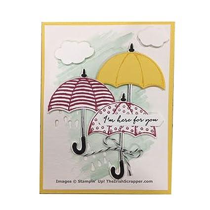 Plantillas de silicona con paraguas, sello transparente para manualidades, álbum de recortes, álbum