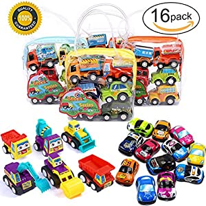 Pull Back Car Toys for Toddlers Toy Cars 2-3-4-5-6 Year Old Boys Girls 16 Pack Early Educational Inertia Assorted Vehicles 16Pcs Pull and Go 16 Play Gift Set