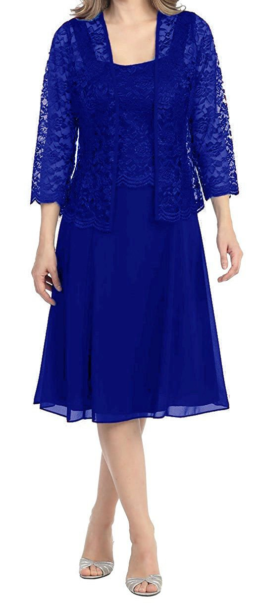 Royal bluee Womens Short Mother of the Bride Plus Size Formal Lace Dress with Jacket Dark Purple US28
