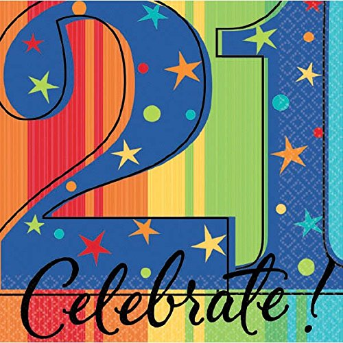 """Amscan A Year To Celebrate Happy Birthday 21st Celebration Beverage Party Napkins, 5"""" x 5"""", Multicolor"""