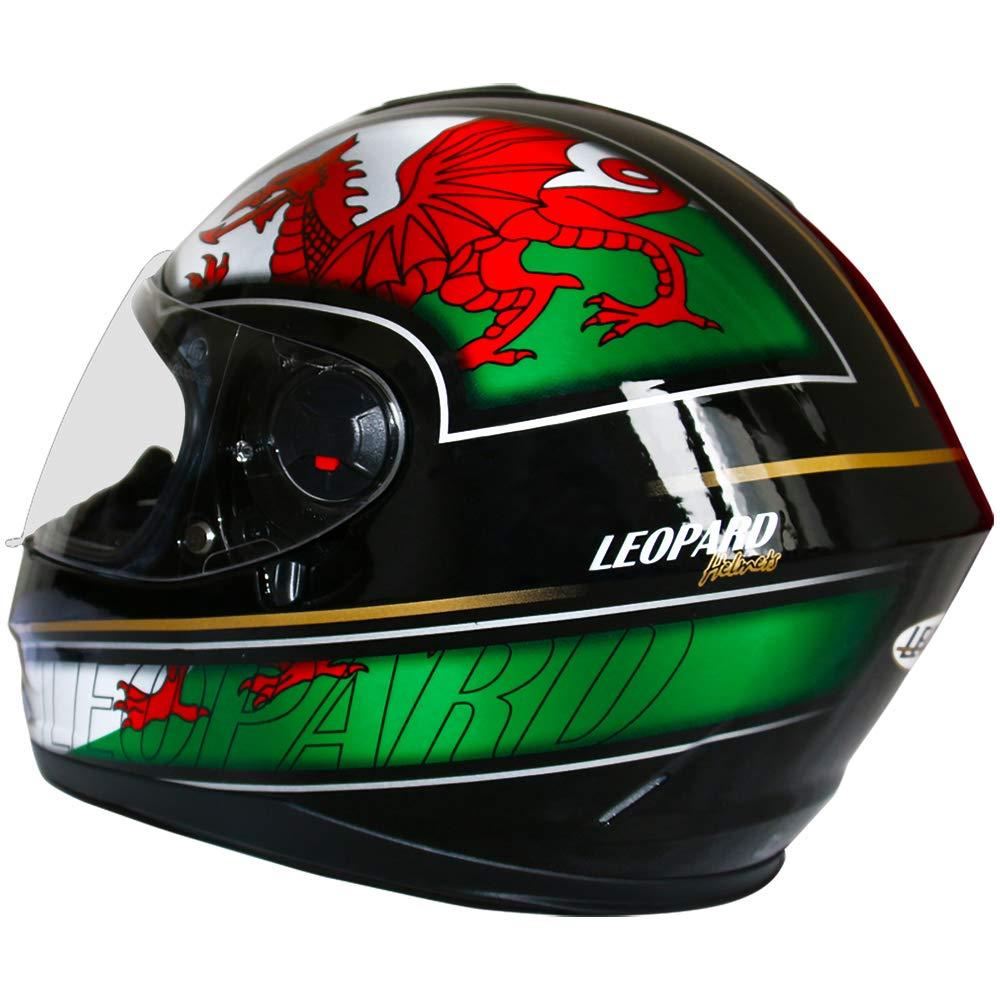 59-60cm Leopard LEO-828 DVS Full Face Motorbike Helmet Matt Black L - Double Visor Motorcycle Helmet