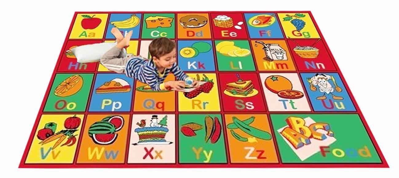Kids Rug ABC FRUIT Area Rug 8' x 11' Non Slip Gel Backing - size approximate ( 7'10'' X 11'3'') -