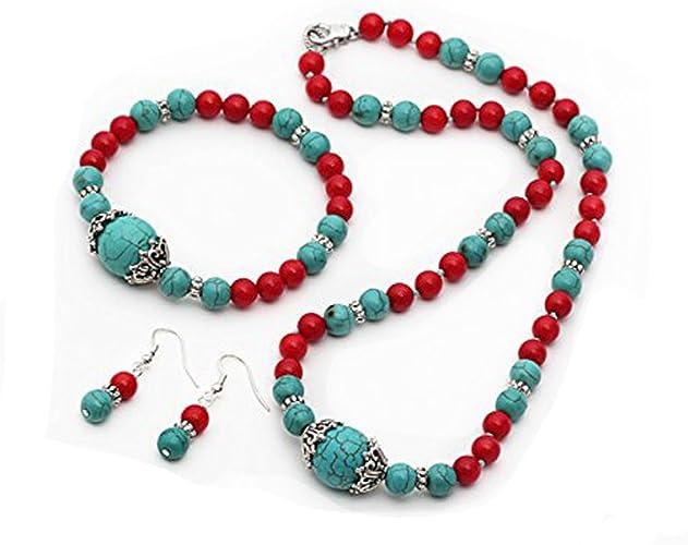 TreasureBay elegante con perline turchese e rosso corallo di collana, bracciale e orecchini, spediti In una lussuosa scatola regalo