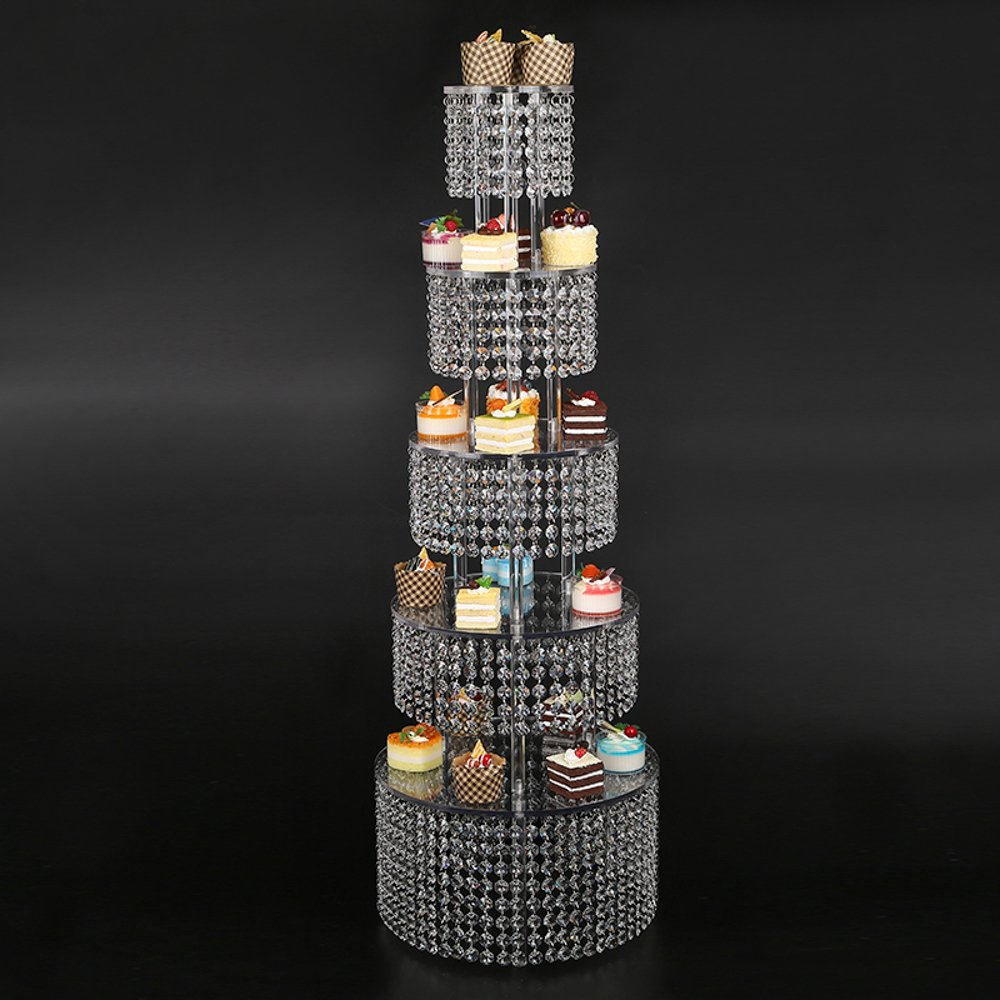 Glamorousカップケーキタワー – パーティBuffet Suppliesベビーシャワーの結婚、誕生日パーティー、ブライダルシャワーで5層高Clearity Arylic   B01HCK7W4W