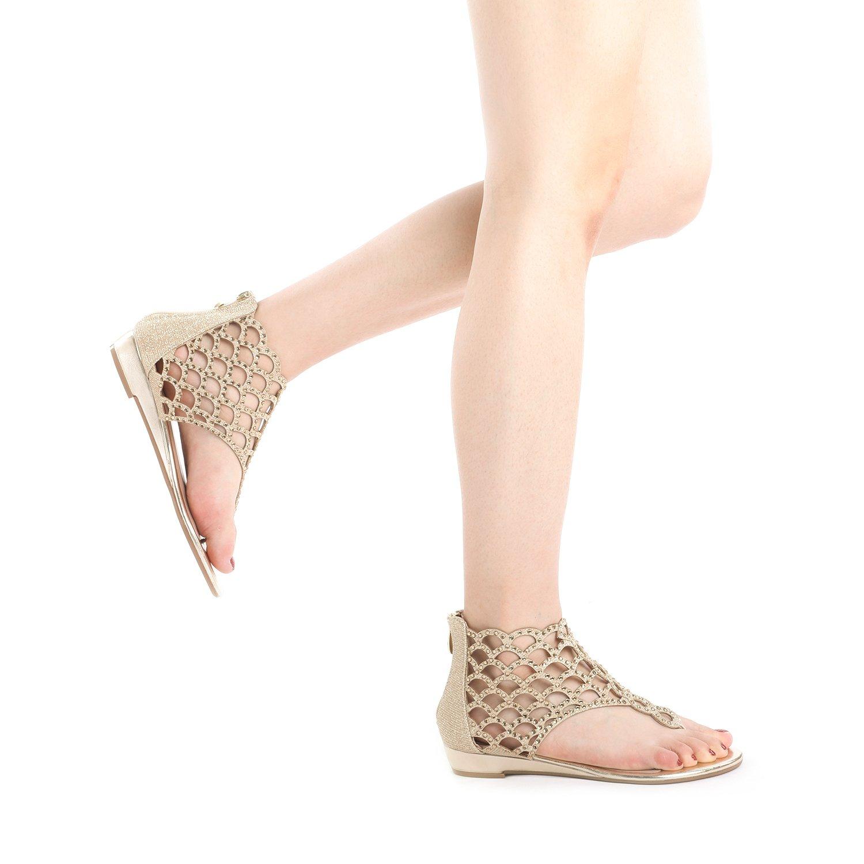 ed224f013 DREAM PAIRS Women s Jewel Rhinestones Design Ankle High Flat Sandals   1540900848-61443  -  15.11