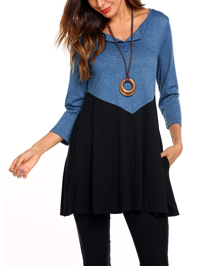 Ladies Top,Women's Oversized Vintage 3/4 Sleeve Baggy Relaxed Scoop Neck Flattering Tunic Shirt XXL Blue