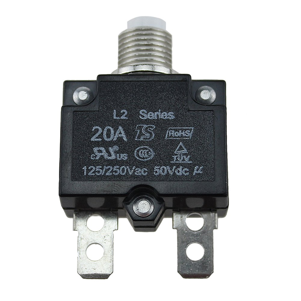 5A Circuit Breaker Panel Mount Air Switch Resettable Thermal Fuse Holder Inline Fuse Block for Car Audio Solar Inverter System Protection