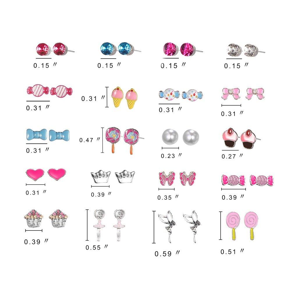 Ainiya 20 Pairs Small Cute Cartoon Multiple Candy Cake Pink Heart Animals Butterflies Ballerina Bows Stud Earrings Set