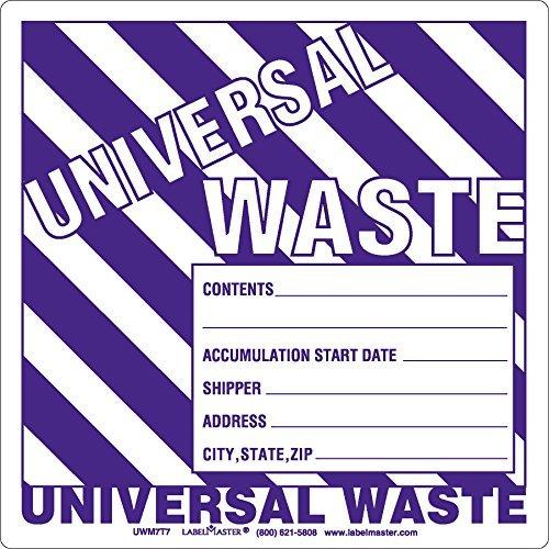 Labelmaster UW05T Universal Waste Label, Paper Stock