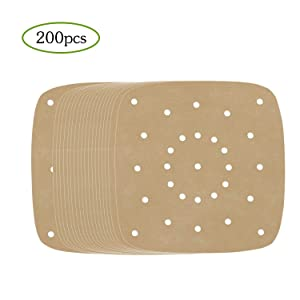 Air Fryer Perforated Paper, Set of 200, 8.5 inch Air Fryer Liners/Bamboo Steamer Paper/Perforated Parchment Paper for Air Fryer, Steaming Basket and More(Brown)