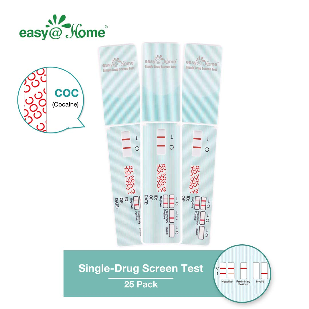 25 Pack Easy@Home Single Panel Drug Tests to Test Cocaine(COC) - 25 Counts #EDCO-114 by Easy@Home