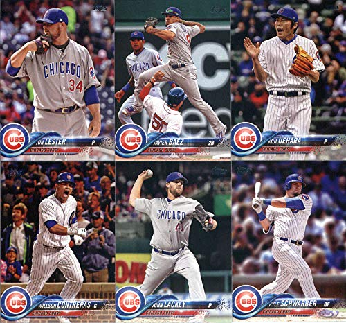 Chicago Cubs 2018 Topps Complete Mint Hand Collated 25 Card Team Set with Kris Bryant, Kyle Schwarber and Javier Baez plus