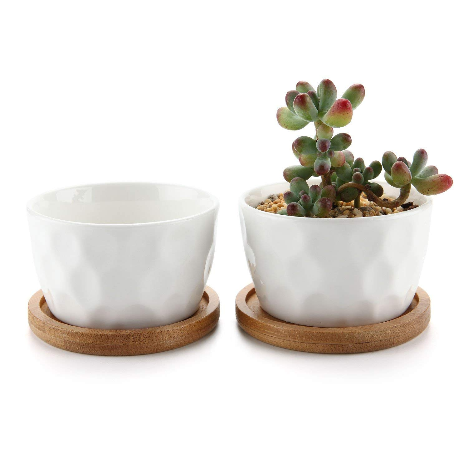 T4U 3.2 Inch White Ceramic Contemporary Honeycomb Surface Succulent Plant Pot Cactus Plant Pot Container with Bamboo Tray – Pack of 2