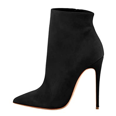 a894b4f9b4832 onlymaker Ankle Boots for Women Side Zipper Dress High Heels Shoes Booties  Black 5 M US