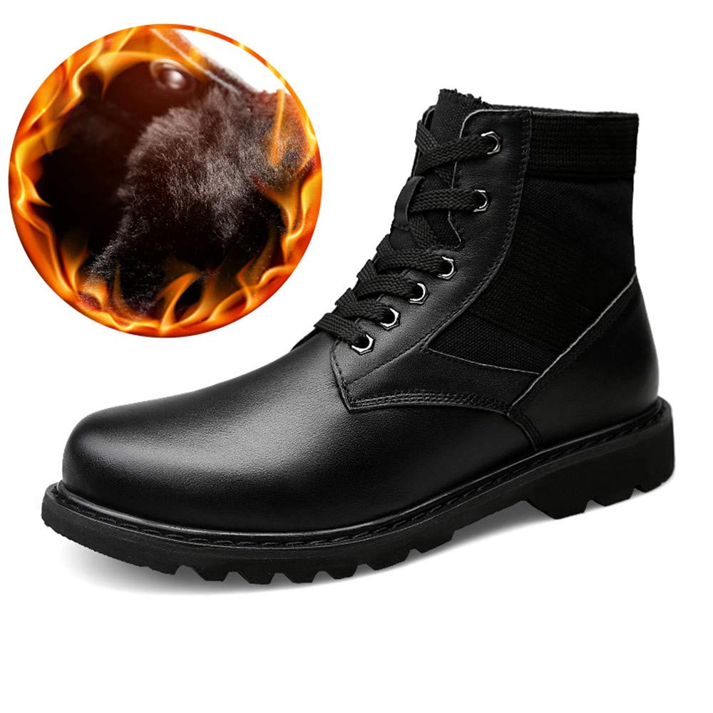 Warm schwarz 37 EU SUIYOUYU Lederstiefel M&au ;nner, Herrenmode Ankle Stiefel beil&au ;ufige hohe Top wasserdicht rutschfeste Sohle Stiefel (Warm Velvet Optional)