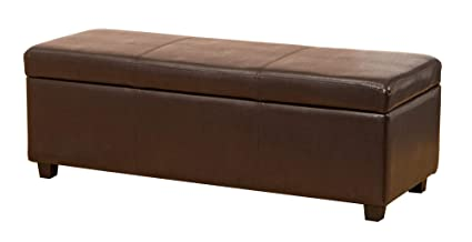 Admirable Sofa Collection Brown Extra Large Ottoman In Bonded Leather 45X120X43 Cm Camellatalisay Diy Chair Ideas Camellatalisaycom