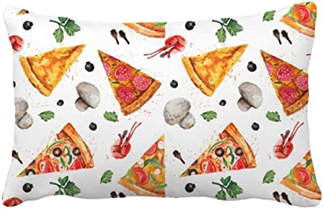 Diythinker Delious Food Pizza Illustration Pattern Throw Pillow Lumbar Insert Cushion Cover Home Decoration Home Kitchen