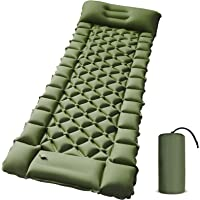 Camping Sleeping Pad - Foot Press Inflatable Lightweight Sleeping Mat with Air Pillow for Backpacking, Hiking…