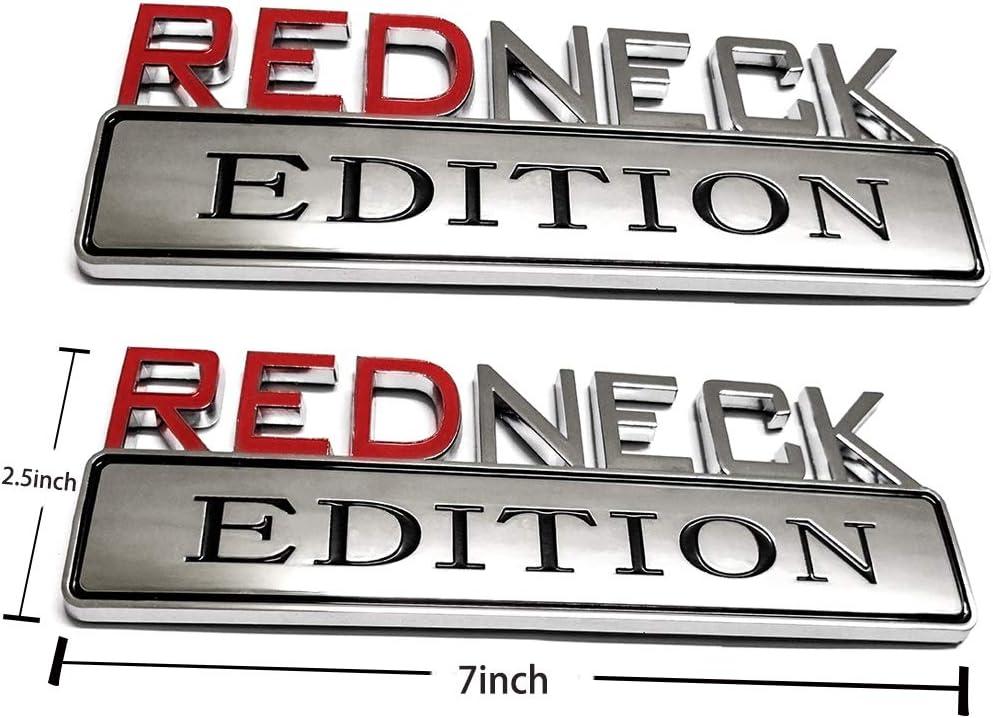 2pcs OEM REDNECK EDITION CAR EMBLEM Badge 3D Replacement for F-150 F250 F350 Silverado RAM 1500 Black White Sanucaraofo