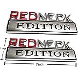 Chrome red Yuauto 2Pc OEM Redneck Edition Car Emblem Chrome Badge 3D Replacement for F-150 F250 F350 Silverado RAM 1500