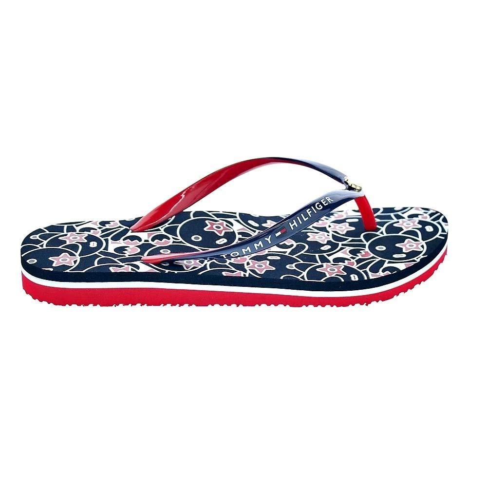 New Womens Tommy Hilfiger Blue Comfort Low Beach Textile Sandals Flats Slip On