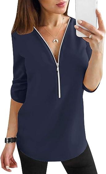 Blusas Mujer Escote V Blusa Manga Larga Camisas Señora Top Camisa De Gasa Camiseras Oficina Elegantes Camisetas Cuello V Cremallera Lisas Chica Blusones Vestir Formales Fiesta Largas Anchas: Amazon.es: Ropa y accesorios