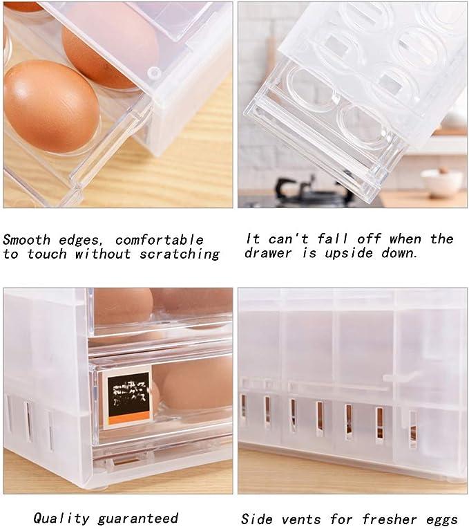 Oulensy Dom/ésticos De Cocina Recipientes De Madera Doble Huevo Caja De Almacenamiento Frigor/ífico Huevo Rack Accesorios
