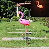 W-DIAN Solar Lights, For Outdoor Pathway metal yard art plastic metals Pink FLAMINGO Patio, Path, Lawn, Garden, Yard Decor,Outside Post Lighting Lamps Original Featherstone Flamingo's