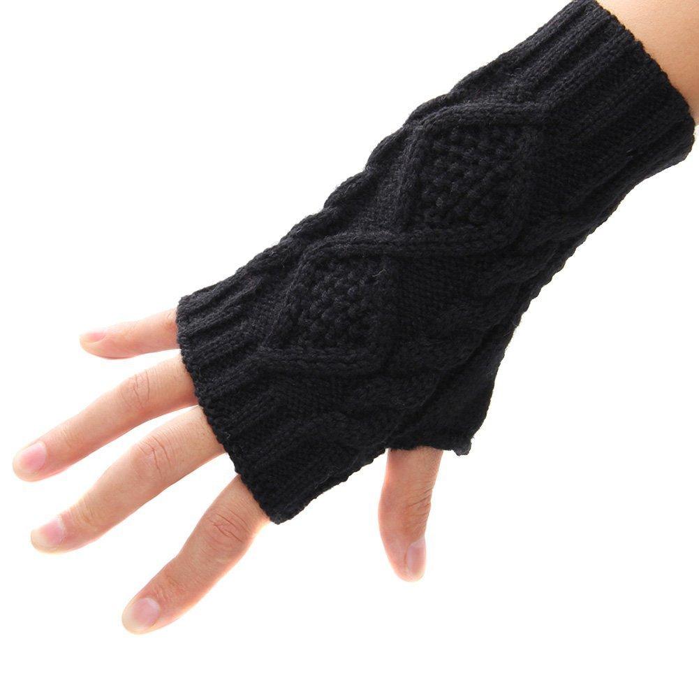 Modernos guantes de punto sin dedos, para mujer, para el invierno, diseño de medio dedo negro negro