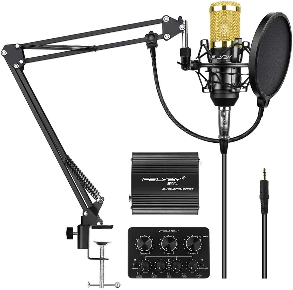 FELYBY Professional Condenser Microphone, Cardioid Recording Microphone Kit with Adjustable Suspension Scissor Boom Arm, Live Sound Card, Perfect for YouTube/Video Conference/Gaming/Zoom/Skype