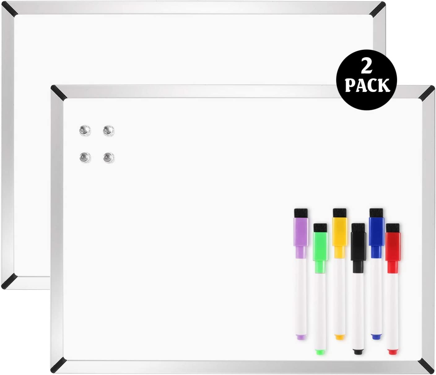 "Dry Erase Board 11""x 14"", 2-Pack Small Magnetic White Board, Includes 6 Dry Erase Markers, 4 Magnets and 8 Reusable Double-Sided Tapes. Great for Kids, Home, Office, Refrigerator, Locker"
