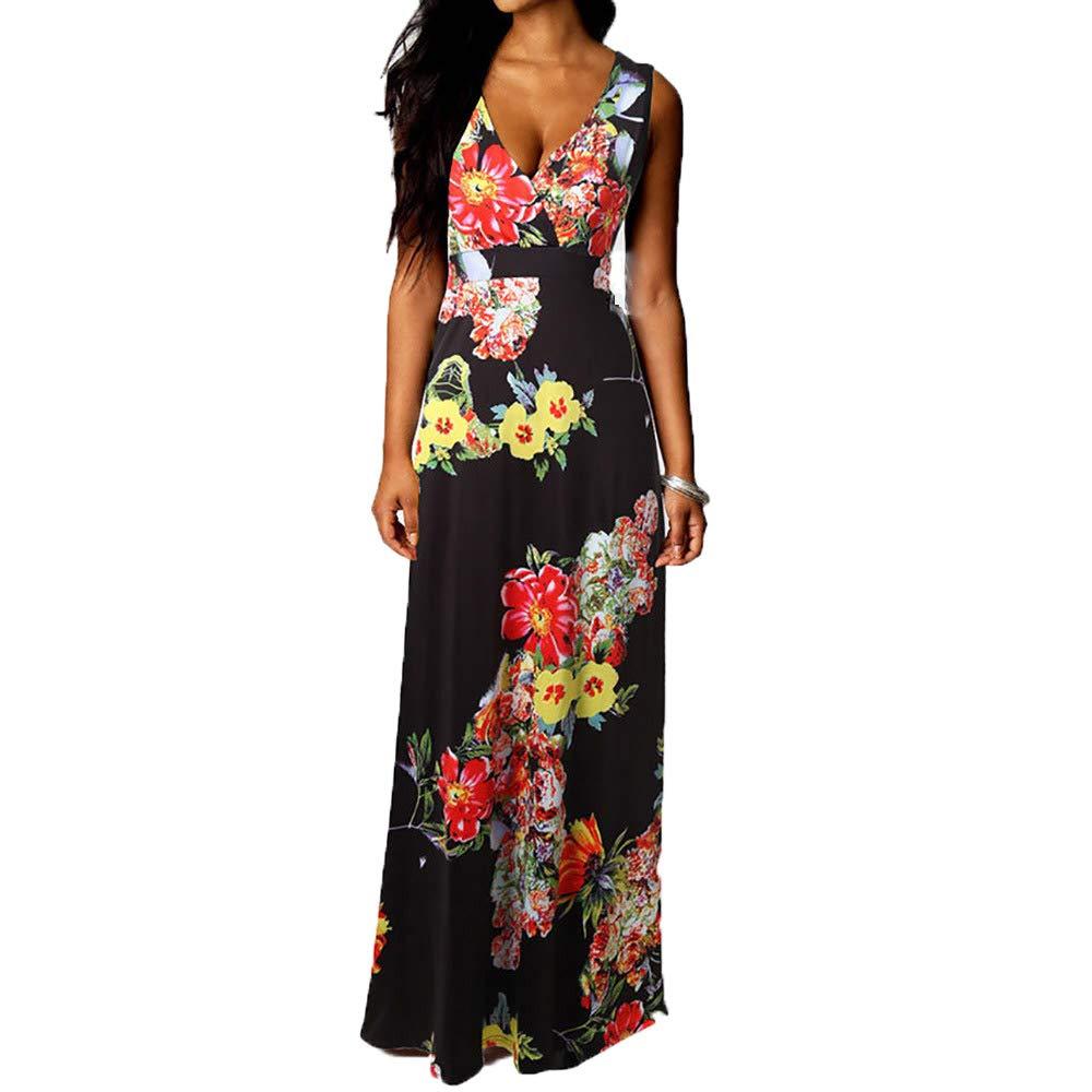 Fanyunhan Women Boho Maxi Dress Summer V-Neck Beach Dress Cocktail Party Floral Dress Black