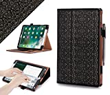 iPad Pro 10.5 Case, WWW [Luxury Laser Flower] Premium PU Leather Case Protective Cover with Auto Wake/Sleep Feature for iPad Pro 10.5 Black