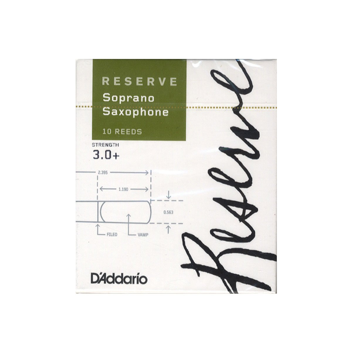 D'Addario Reserve Soprano Saxophone Reeds, Strength 3.0+,10-Pack