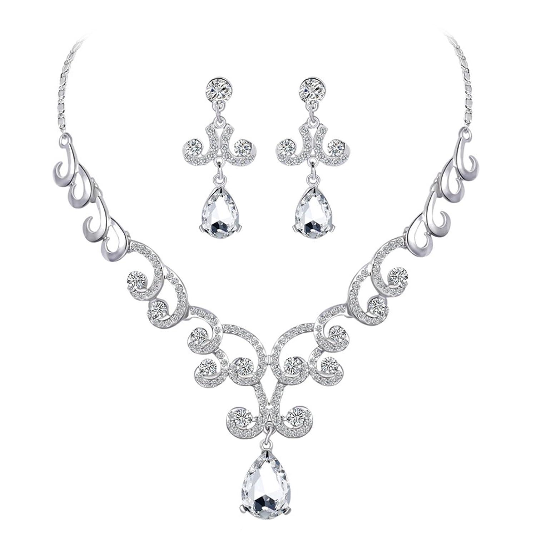 6e47e157dd18 Barato bismarckbeer de las mujeres juego de joyas para boda novia cristal  Rhinestone collar pendientes set
